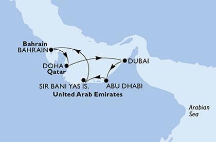 Abū Dabī un MSC kruīzs - AAE, Bahreina, Katara